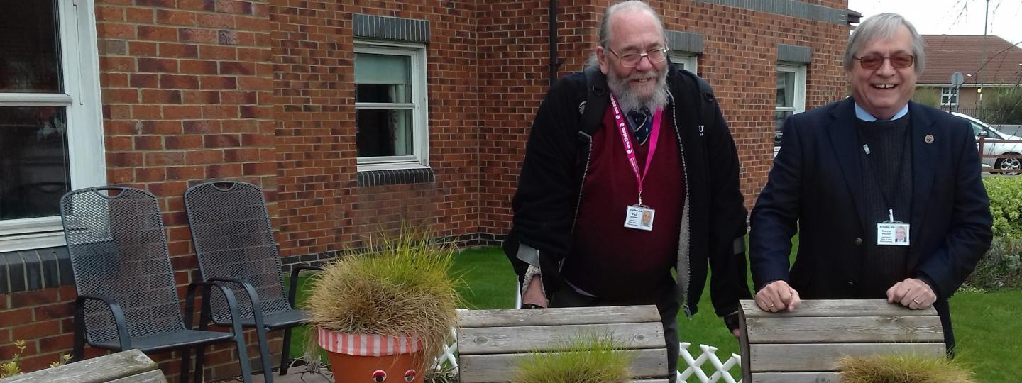 Two volunteers outside care home for Enter and View visit